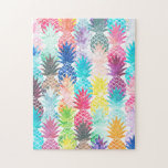 """Hawaiian Pineapple Pattern Tropical Watercolor Jigsaw Puzzle<br><div class=""""desc"""">Whimsical Watercolor pineapple pattern,  modern trendy,  abstract multicolor pineapples fruit design featuring bright and colorful Hawaiian pineapple with artistic and abstract pastel tropical pink,  yellow,  blue,  red colors on a white background. Celebrate summer with this fresh and psychedelic fruit pattern</div>"""