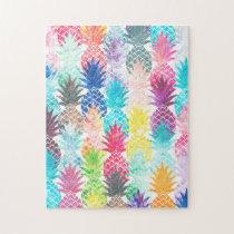 Hawaiian Pineapple Pattern Tropical Watercolor Jigsaw Puzzle
