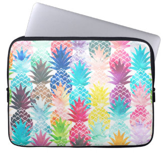 Hawaiian Pineapple Pattern Tropical Watercolor Computer Sleeve