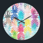 """Hawaiian Pineapple Pattern Tropical Watercolor Large Clock<br><div class=""""desc"""">Whimsical Watercolor pineapple pattern,  modern trendy,  abstract multicolor pineapples fruit design featuring bright and colorful Hawaiian pineapple with artistic and abstract pastel tropical pink,  yellow,  blue,  red colors on a white background. Celebrate summer with this fresh and psychedelic fruit pattern</div>"""