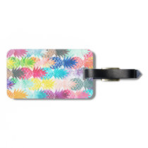 Hawaiian Pineapple Pattern Tropical Watercolor Luggage Tag