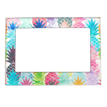 Hawaiian Pineapple Pattern Tropical Watercolor Magnetic Frame