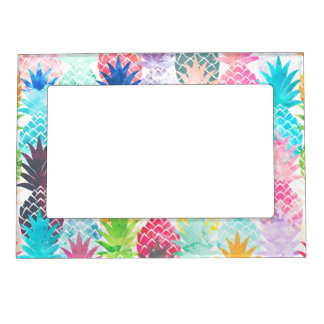Hawaiian Pineapple Pattern Tropical Watercolor Photo Frame Magnets