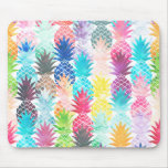 Hawaiian Pineapple Pattern Tropical Watercolor Mouse Pad