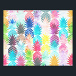 "Hawaiian Pineapple Pattern Tropical Watercolor Photo Print<br><div class=""desc"">Whimsical Watercolor pineapple pattern,  modern trendy,  abstract multicolor pineapples fruit design featuring bright and colorful Hawaiian pineapple with artistic and abstract pastel tropical pink,  yellow,  blue,  red colors on a white background. Celebrate summer with this fresh and psychedelic fruit pattern</div>"
