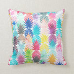 Hawaiian Pineapple Pattern Tropical Watercolor Pillow