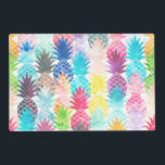 """Hawaiian Pineapple Pattern Tropical Watercolor Placemat<br><div class=""""desc"""">Whimsical Watercolor pineapple pattern,  modern trendy,  abstract multicolor pineapples fruit design featuring bright and colorful Hawaiian pineapple with artistic and abstract pastel tropical pink,  yellow,  blue,  red colors on a white background. Celebrate summer with this fresh and psychedelic fruit pattern</div>"""