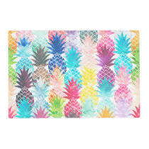 Hawaiian Pineapple Pattern Tropical Watercolor Placemat