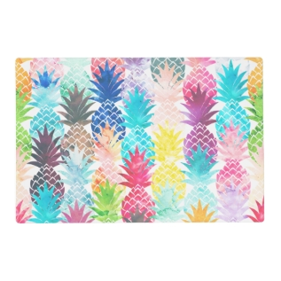 Hawaiian Pineapple Pattern Tropical Watercolor Placemat at Zazzle