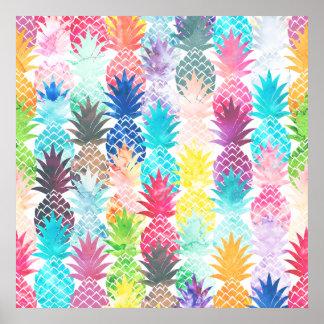 Hawaiian Pineapple Pattern Tropical Watercolor Poster