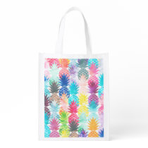 Hawaiian Pineapple Pattern Tropical Watercolor Reusable Grocery Bag