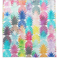 Hawaiian Pineapple Pattern Tropical Watercolor Shower Curtain
