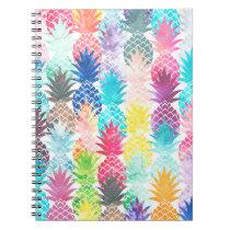 Hawaiian Pineapple Pattern Tropical Watercolor Spiral Notebook