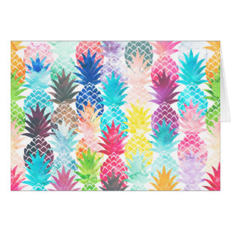Hawaiian Pineapple Pattern Tropical Watercolor Stationery Note Card