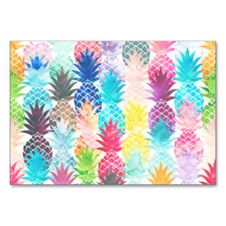 Hawaiian Pineapple Pattern Tropical Watercolor Table Card