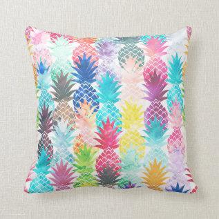 Hawaiian Pineapple Pattern Tropical Watercolor Throw Pillow at Zazzle