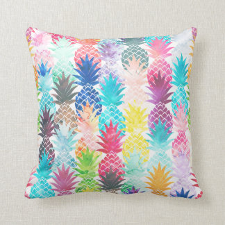 Hawaiian Pineapple Pattern Tropical Watercolor Throw Pillow