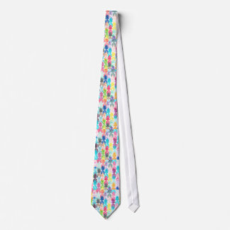 Hawaiian Pineapple Pattern Tropical Watercolor Tie