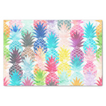 Hawaiian Pineapple Pattern Tropical Watercolor Tissue Paper