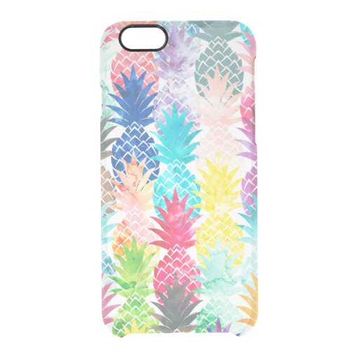 Hawaiian Pineapple Pattern Tropical Watercolor Uncommon Clearly(tm) Deflector Iphone 6 Case