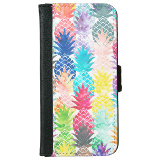Hawaiian Pineapple Pattern Tropical Watercolor Wallet Phone Case For iPhone 6/6s