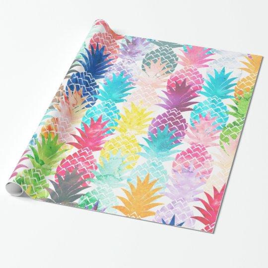 Hawaiian Pineapple Pattern Tropical Watercolor Wrapping