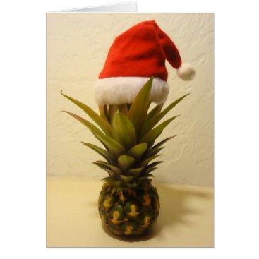 Christmas Themed Hawaiian Pineapple Santa Hat Christmas Card