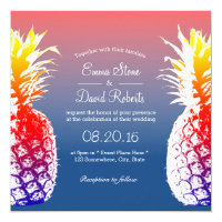 Hawaiian Pineapple Tropical Wedding Invitations