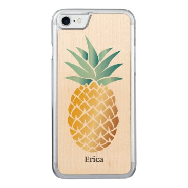 Beach Themed Hawaiian Pineapple with Name Carved iPhone 7 Case