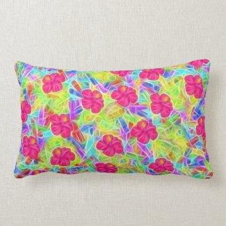 Hawaiian Pink Flowers Throw Pillow