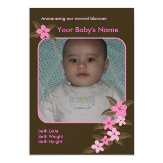 Hawaiian Pink Plumerias Flat Birth Announcement