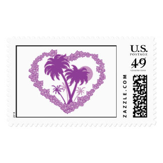 Hawaiian Plam Tree Heart Postage