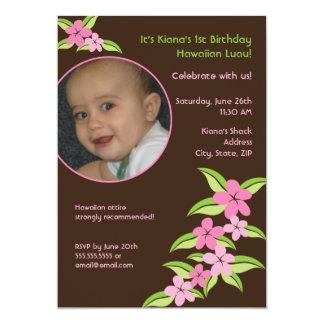 "Hawaiian Plumeria Custom Photo Birthday Invitation 5"" X 7"" Invitation Card"