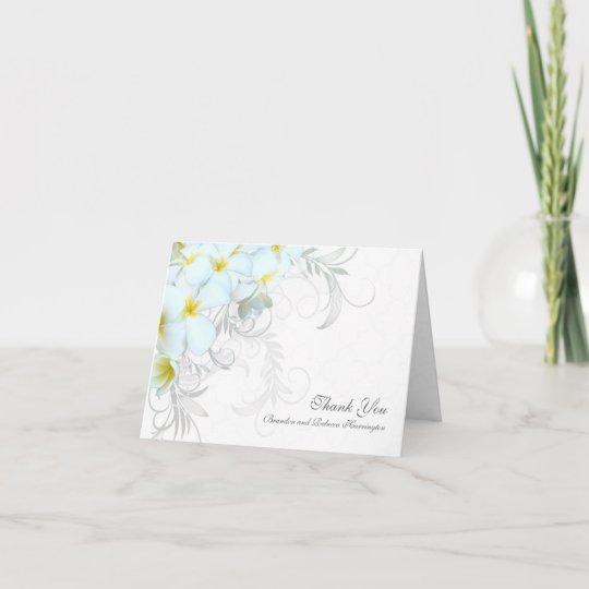 hawaiian plumeria custom wedding thank you cards - Custom Wedding Thank You Cards