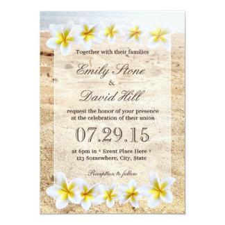 Hawaiian Plumeria Flowers Beach Theme Wedding 5x7 Paper Invitation Card