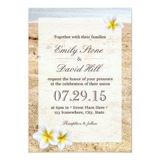 Hawaiian Plumeria Flowers Beach Wedding 5x7 Paper Invitation Card
