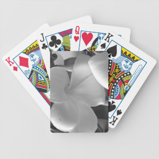 Hawaiian Plumeria Flowers in Black and White Bicycle Playing Cards