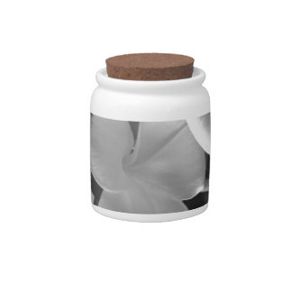 Hawaiian Plumeria Flowers in Black and White Candy Jar