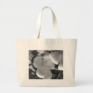 Hawaiian Plumeria Flowers in Black and White Large Tote Bag
