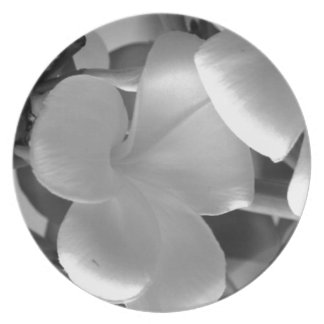 Hawaiian Plumeria Flowers in Black and White Plate