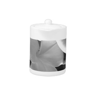Hawaiian Plumeria Flowers in Black and White Teapot