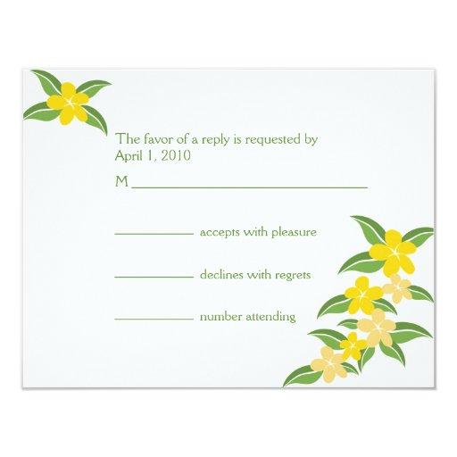 Hawaiian Plumeria RSVP Card