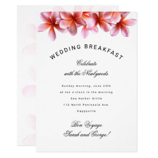 Hawaiian Plumeria Wedding Breakfast Invitation