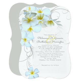 Hawaiian Plumeria White Wedding Invitation