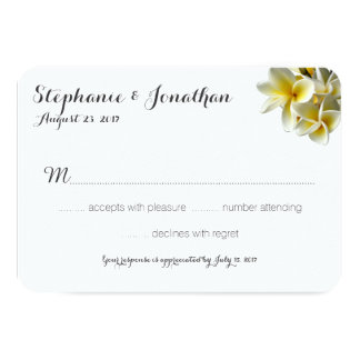 Hawaiian Plumeria White Wedding Reply Cards