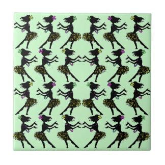 Hawaiian Polynesia Hula Dancer Green Pattern Tile