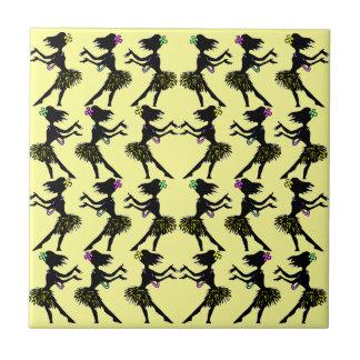 Hawaiian Polynesia Hula Dancer Yellow Pattern Tile