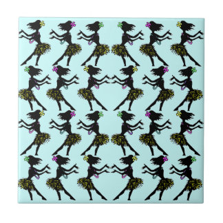 Hawaiian Polynesian Hula Dancer Blue Pattern Tile
