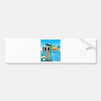 Hawaiian Pool Girl Car Bumper Sticker
