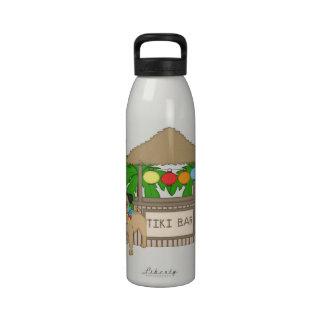 Hawaiian Pug at Tiki Bar Customizable Tees, Gifts Water Bottles